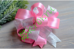Бант-шар атласный с люрексом серебро/розовый, шт