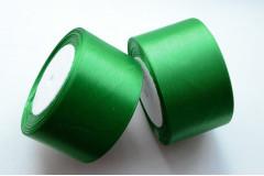 Лента атласная зеленая 50 мм, метр