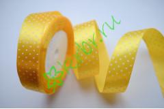Лента атласная горох желтая 25 мм, 1 м
