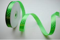Лента атласная горох зеленое яблоко 12 мм, 1 м