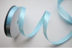 Лента атласная горох голубая 12 мм, 1 м