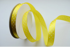 Лента атласная горох лимонная 12 мм, 1 м