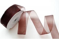 Лента органза шоколад 25 мм, метр