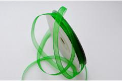 Лента органза зеленая 6 мм, метр