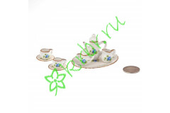 Набор фарфора миниатюрный чайный, 8 предметов Голубая Роза