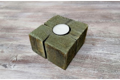 Подсвечник деревянный 10х10х6 см, зеленая патина