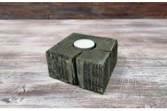 Подсвечник деревянный 10х10х6 см, синяя патина