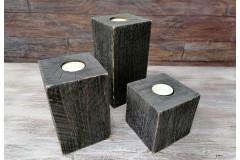Подсвечник деревянный Моне, черная патина